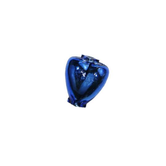 """7 Blue Heart Blown Glass Beads .625"""" ~ Czech Republic"""