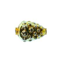 """3 Gold Berry or Grape Glass Beads 1"""" ~ Czech Republic"""