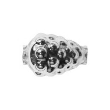 "3 Silver Berry or Grape Glass Beads 1"" ~ Czech Republic"