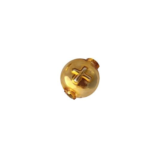 7 Large Gold Lentil with Cross Blown Glass Beads 14mm ~ Czech Republic