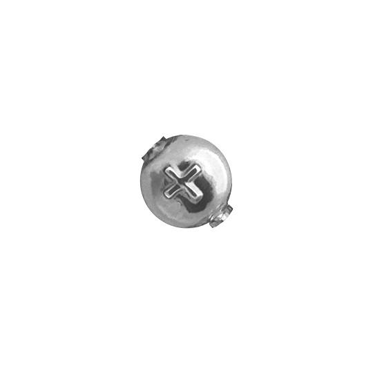 7 Large Silver Lentil with Cross Blown Glass Beads 14mm ~ Czech Republic