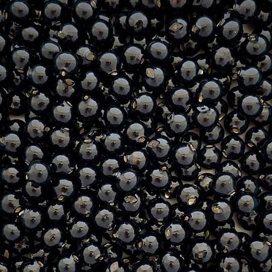 15 Black Round Glass Beads 10 mm ~ Czech Republic
