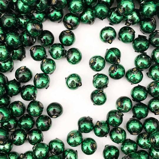 15 Dark Green Round Glass Beads 10 mm ~ Czech Republic