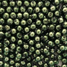 15 Forest Green Round Glass Beads 10 mm ~ Czech Republic