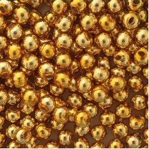 12 Gold Round Glass Beads 12 mm ~ Czech Republic