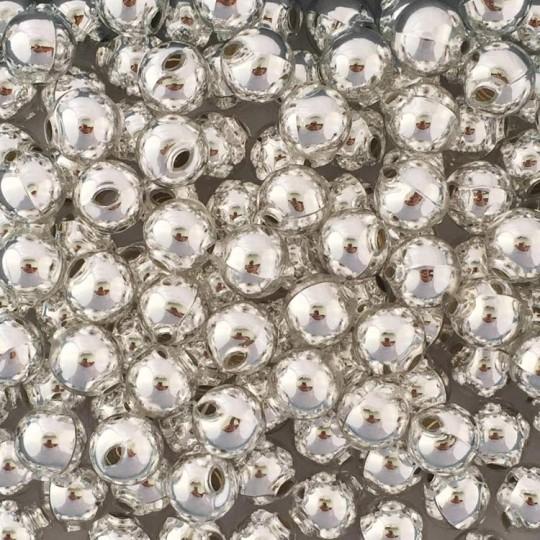 10 Glossy Silver Round Glass Beads 14 mm ~ Czech Republic