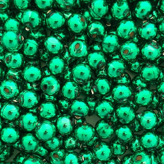 10 Glossy Green Round Glass Beads 14 mm ~ Czech Republic