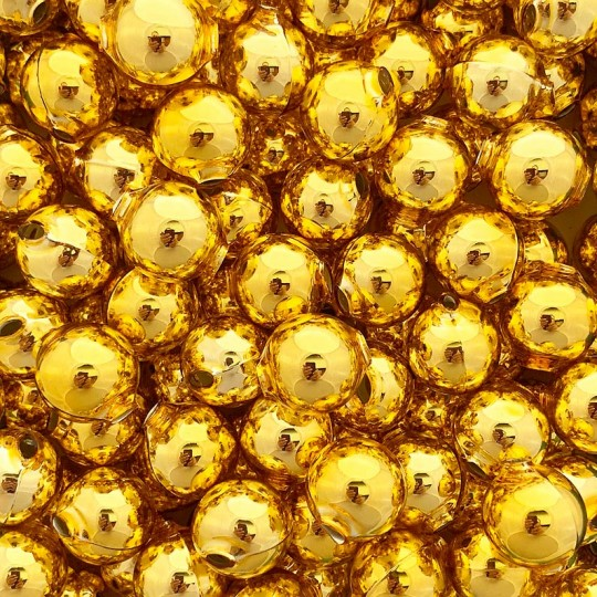 8 Gold Round Glass Beads 18 mm ~ Czech Republic