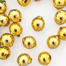 8 Gold Round Glass Beads 18 mm ~ Czech Republic