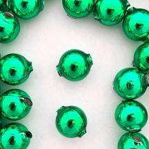 8 Green Round Glass Beads 18 mm ~ Czech Republic