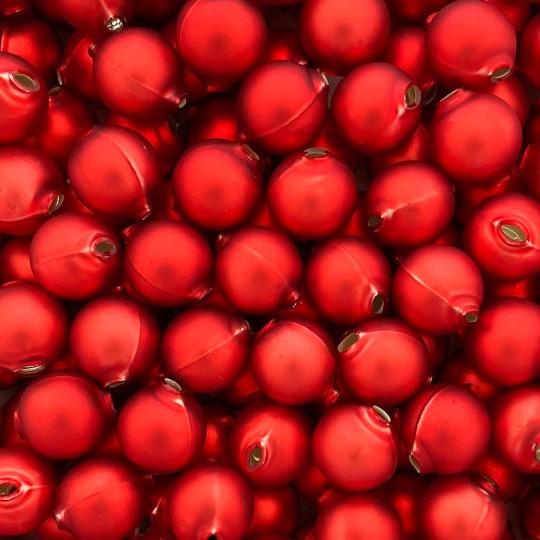 8 Matte Red Round Glass Beads 18 mm ~ Czech Republic