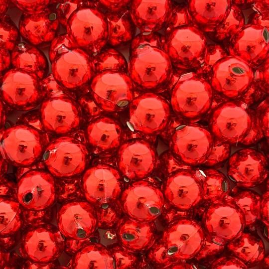 8 Red Round Glass Beads 18 mm ~ Czech Republic