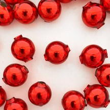 8 Red Round Glass Beads 18 mm ~ Czech Republic