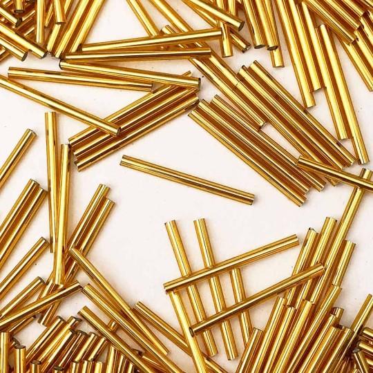 20 Antique Gold Blown Glass 30 mm Tube Beads ~ Czech Republic