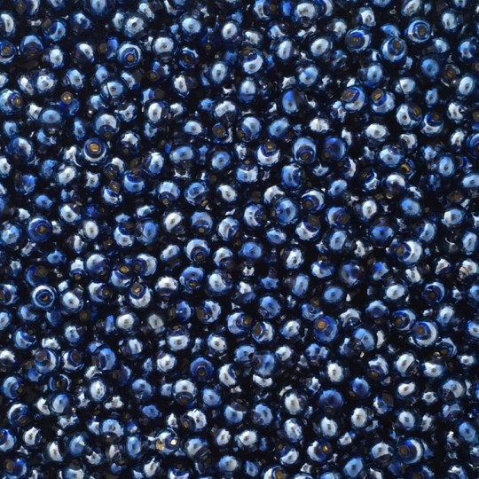 30 Blue Round Glass Beads 6 mm ~ Czech Republic