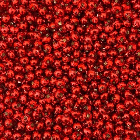30 Red Round Glass Beads 6 mm ~ Czech Republic