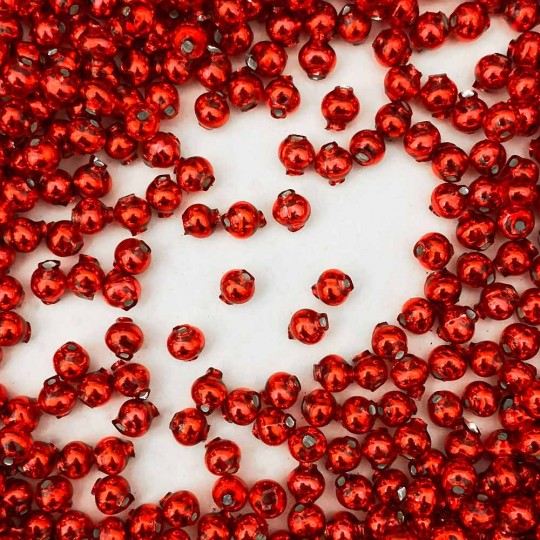 30 Red Round Glass Beads 6 mm ~ Czech Republic