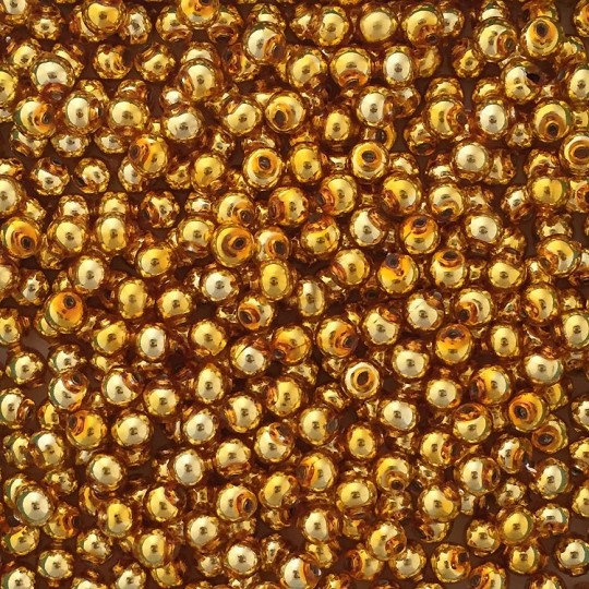 30 Gold Round Glass Beads 8 mm ~ Czech Republic