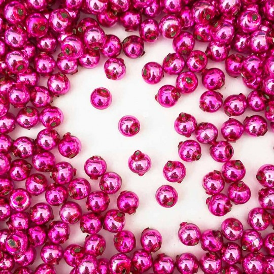 30 Hot Pink Round Glass Beads 8 mm ~ Czech Republic