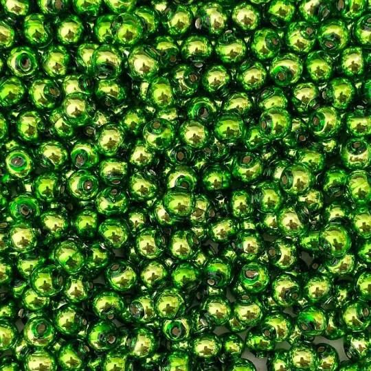30 Lime Green Round Glass Beads 8 mm ~ Czech Republic