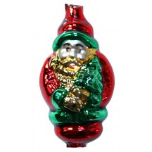 "Extra Large Classic Double Santa Figural Glass Bead 2-1/2"" ~ Czech Republic"