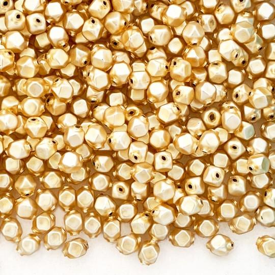 10 Matte Champagne Faceted Cube Blown Glass Beads 8mm ~ Czech Republic