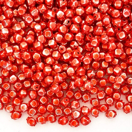 10 Pearl Coral Faceted Cube Blown Glass Beads 8mm ~ Czech Republic