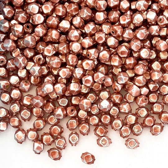 10 Pearl Rose Pink Faceted Cube Blown Glass Beads 8mm ~ Czech Republic