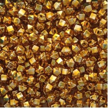 10 Gold Faceted Cube Blown Glass Beads 10mm ~ Czech Republic