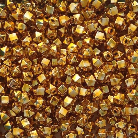 10 Gold Faceted Cube Blown Glass Beads 10mm ~ Czech Republic