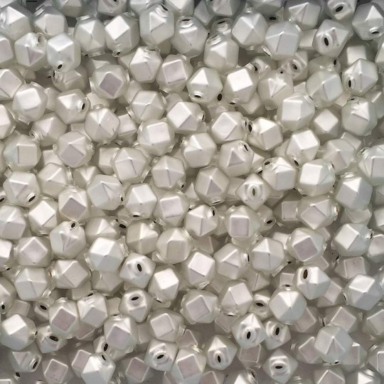 10 Matte White Faceted Cube Blown Glass Beads 10mm ~ Czech Republic
