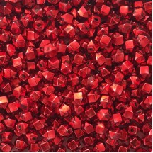 10 Red Faceted Cube Blown Glass Beads 10mm ~ Czech Republic