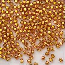 15 Gold Faceted Cube Blown Glass Beads 6mm ~ Czech Republic