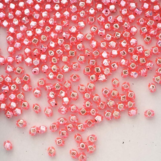 15 Light Pink Faceted Cube Blown Glass Beads 6mm ~ Czech Republic