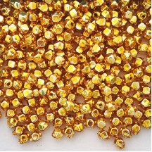 10 Gold Faceted Cube Blown Glass Beads 8mm ~ Czech Republic