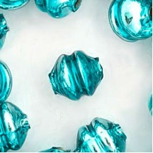 6 Aqua 12 mm Double Disc Beads ~ Czech Republic