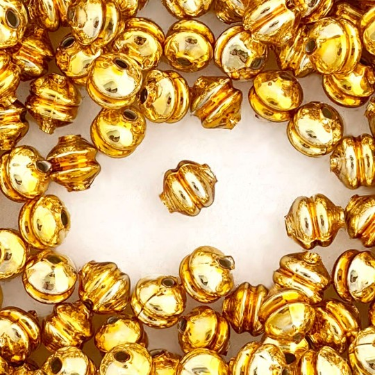 6 Gold 12 mm Double Disc Beads ~ Czech Republic