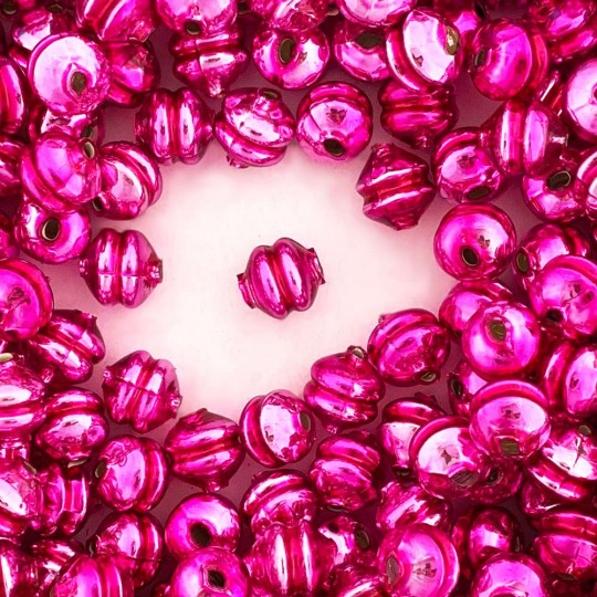 6 Hot Pink 12 mm Double Disc Beads ~ Czech Republic