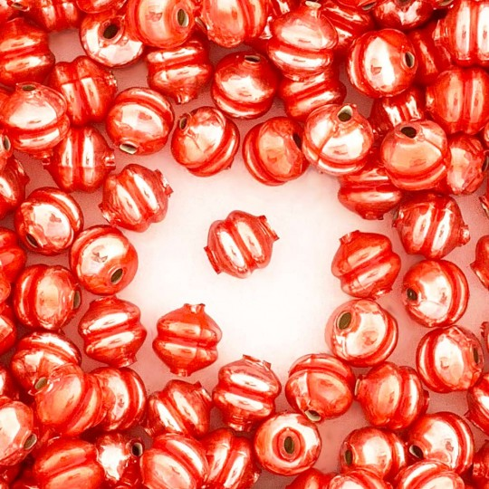 6 Pearl Coral 12 mm Double Disc Beads ~ Czech Republic