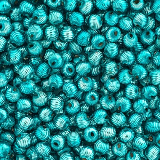 10 Aqua Ribbed Round Glass Beads 10mm for Glass Bead Christmas Garlands