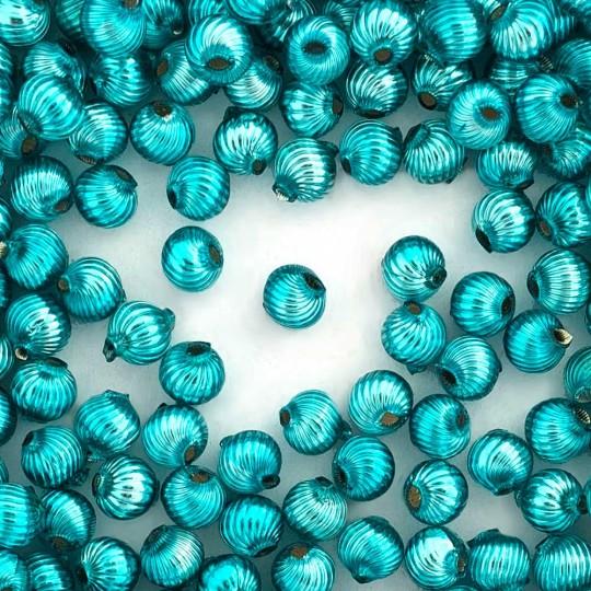 10 Aqua Ribbed Round Glass Beads 10mm for Glass Bead Christmas Garlands