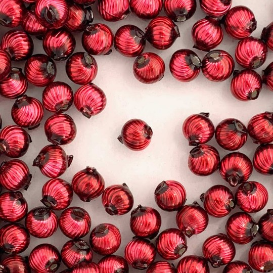 10 Burgundy Ribbed Round Glass Beads 10mm for Glass Bead Christmas Garlands