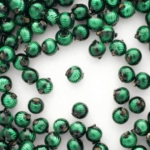 10 Dark Green Ribbed Round Glass Beads 10mm for Glass Bead Christmas Garlands