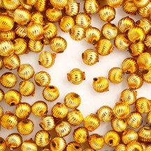 10 Gold Ribbed Round Glass Beads 10mm for Glass Bead Christmas Garlands