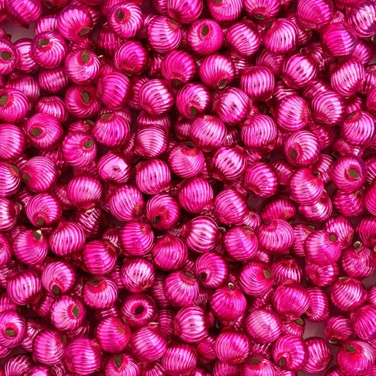 10 Hot Pink Ribbed Round Glass Beads 10mm for Glass Bead Christmas Garlands