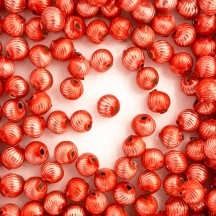 10 Pearl Coral Ribbed Round Glass Beads 10mm for Glass Bead Christmas Garlands