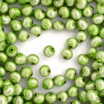 10 Pearl Green Ribbed Round Glass Beads 10mm for Glass Bead Christmas Garlands
