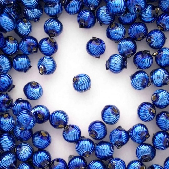 10 Blue Ribbed Round Glass Beads 10mm for Glass Bead Christmas Garlands