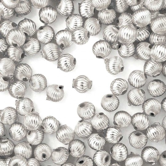 10 Silver Ribbed Round Glass Beads 10mm for Glass Bead Christmas Garlands