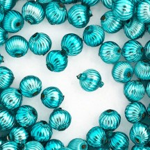 8 Aqua Ribbed Round Glass Beads 12 mm ~ Czech Republic